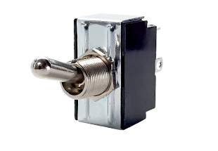 G-Series AC rated 1-2 pole toggle switch with metal bat and tab terminals. Bat actuators can be sealed or unsealed.
