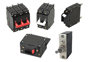 C-Series compact circuit breakers; this up to 100 amp breaker offers 1-6 poles with a variety of configurations and actuators.