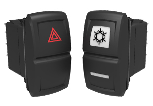 V-Series Contura XIV Sealed Rocker Switches; Non-Illuminated with Laser Etched Legend and Illuminated with Square & Bar lenses.