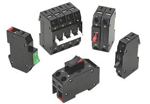 D-Series DIN rail mount circuit breaker available as a 1 to 4 pole handle breaker or a 1 to 3 pole rocker breaker.