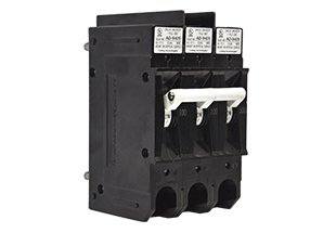 E-Series high voltage circuit breaker; 3 poles with standard barriers, back connected stud terminals and handle actuator.