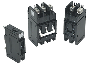 E-Series high voltage circuit breaker showing back connected stud & front connected box wire connector (top) terminal options.