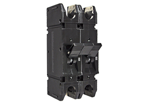 F-Series double pole high current breaker; rated at 125VDC, it is widely used as a battery disconnect for contingency power.
