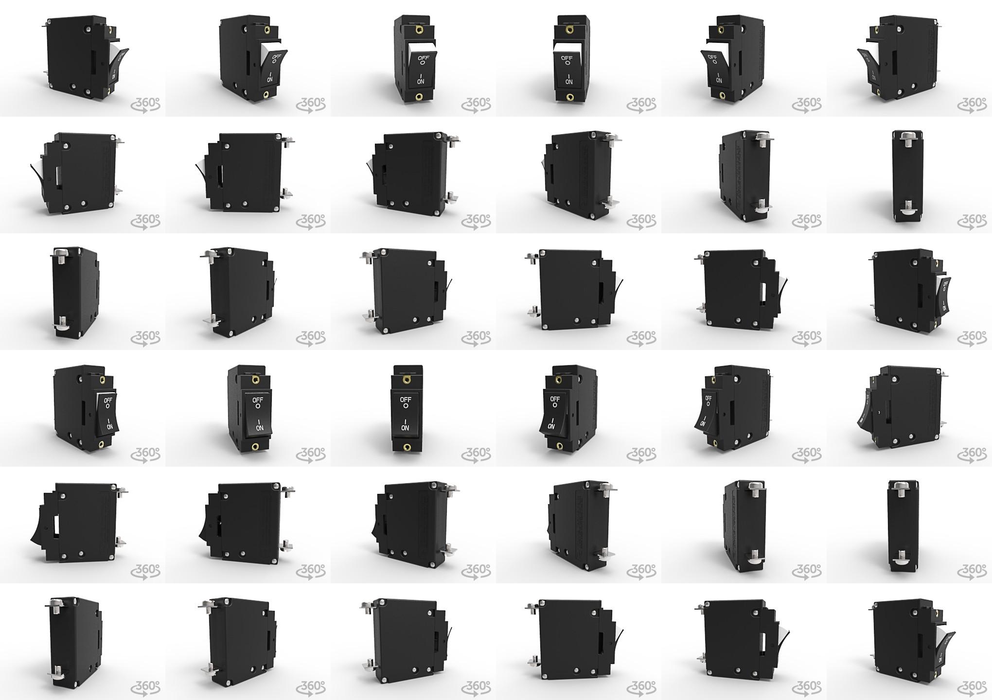 J-Series 20 amp circuit breaker; this low profile circuit breaker has 1 pole, dual legend rocker actuator and screw terminals.