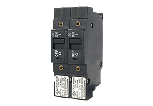 L-Series 20 amp two pole breaker; low profile push-to-reset rocker actuators with dual horizontal imprints in white.