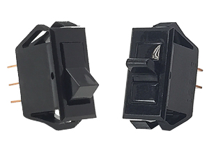 T-Series mid-size Tippette rocker switches in black with black rocker actuator and black short paddle actuator
