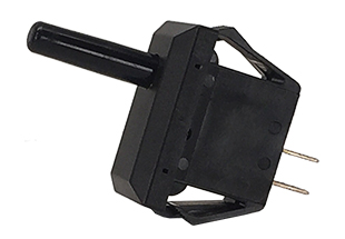 T-Series mid-size Tippette rocker switch in black with black paddle actuator.