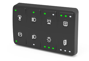 CKP-Series 2x4 CAN Bus Keypad. A fully customizable keypad with laser etched legends and up 3 LED function lights per button.