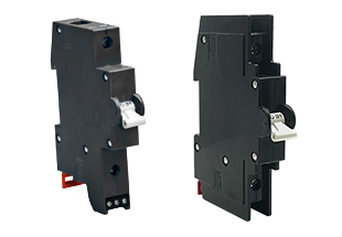 Single pole G-Series Recognized & Listed DIN rail circuit breakers with white handle actuator and din rail lock.
