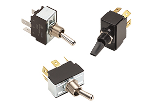 G-Series AC rated 1-2 pole toggle switches with tab terminals and different actuator options, including a nylon paddle.