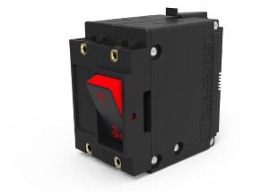 J-Series 20 amp circuit breaker; low profile circuit breaker in 3 poles with flat rocker actuator and dual legend.