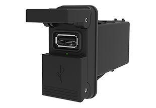 """V-Charger with square, spring loaded double doors that automatically close; fits industry panel opening of 1.450"""" x .830""""."""